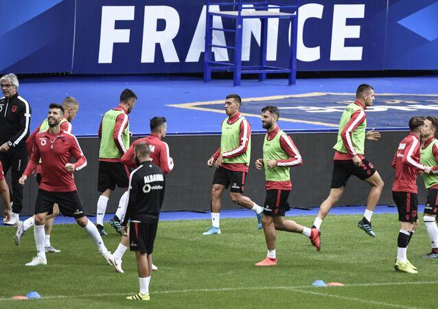 L'équipe albanaise lors d'un entraînement