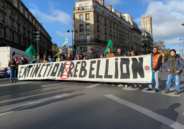 Action d'Extinction Rebellion à Paris en octobre 2019