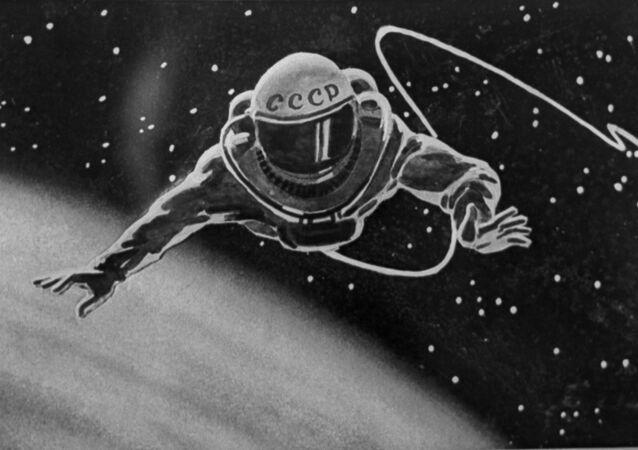 Le cosmonaute soviétique Alexeï Leonov dans l'espace (illustration)