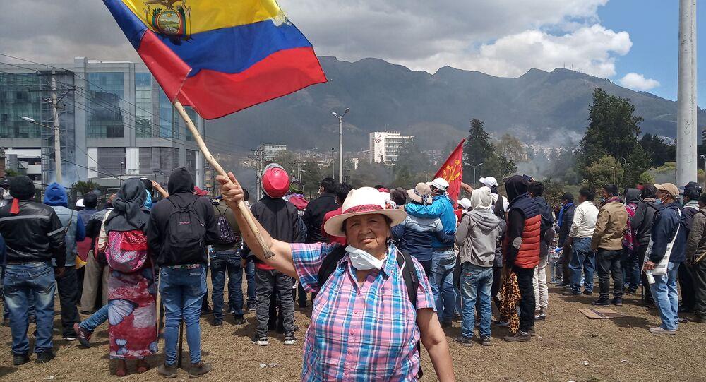 Participante des protestation en Équateur