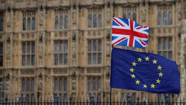 In this file photo taken on January 23, 2019 an anti-Brexit activist waves a Union and a European Union flag as they demonstrate outside the Houses of Parliament in central London - Sputnik France