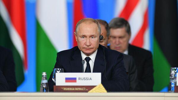 Vladimir Poutine lors de la deuxième session plénière du sommet Russie-Afrique à Sotchi - Sputnik France