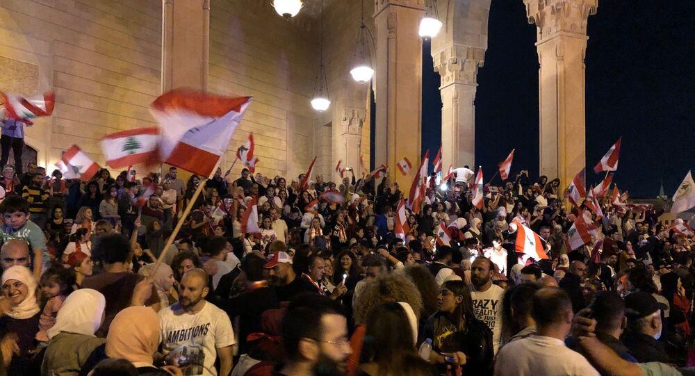 Participants à une manifestation antigouvernementale à Beyrouth