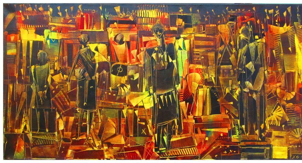 Chlag Amraoui, Langage du temps, huile sur toile, 105 x 55 cm, 2012