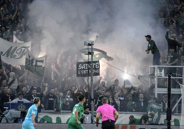 Des fans de l'ASSE lors du match entre le club Saint-Etienne et Le VfL Wolfsburg, le 3 octobre 2019, dans le cadre de League Europa