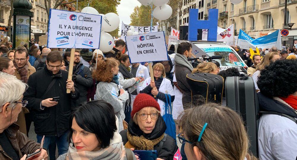 Manifestation des personnels hospitaliers à Paris, 14 novembre 2019