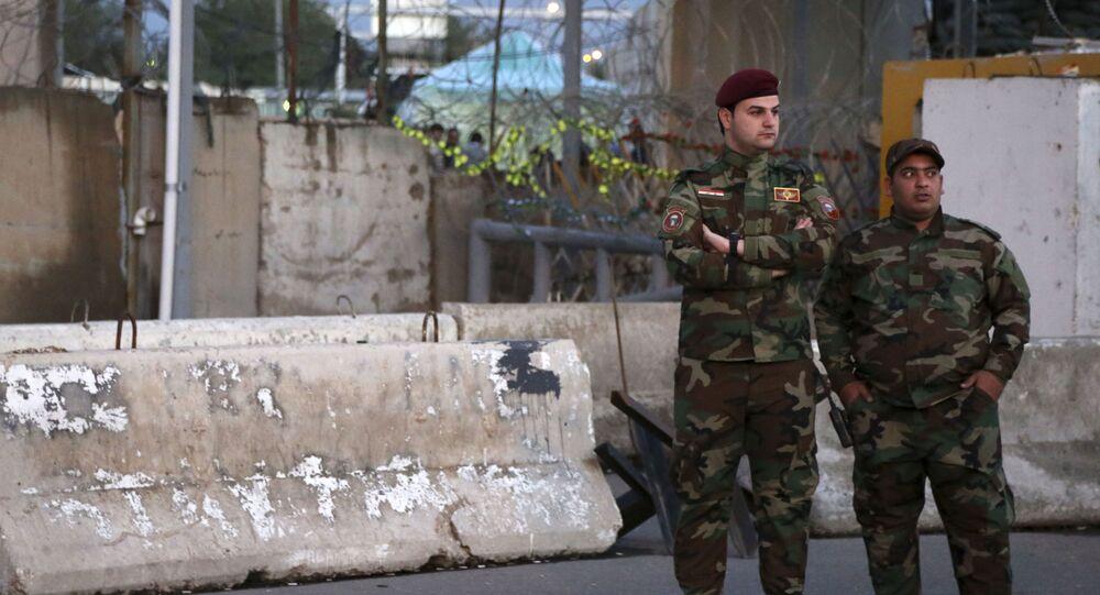 La police irakienne près de la Zone verte à Bagdad, archives