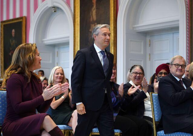 François-Philippe Champagne au cours de sa cérémonie d'investiture en tant que ministre canadien des Affaires étrangères le 20 novembre 2019 à Ottawa.