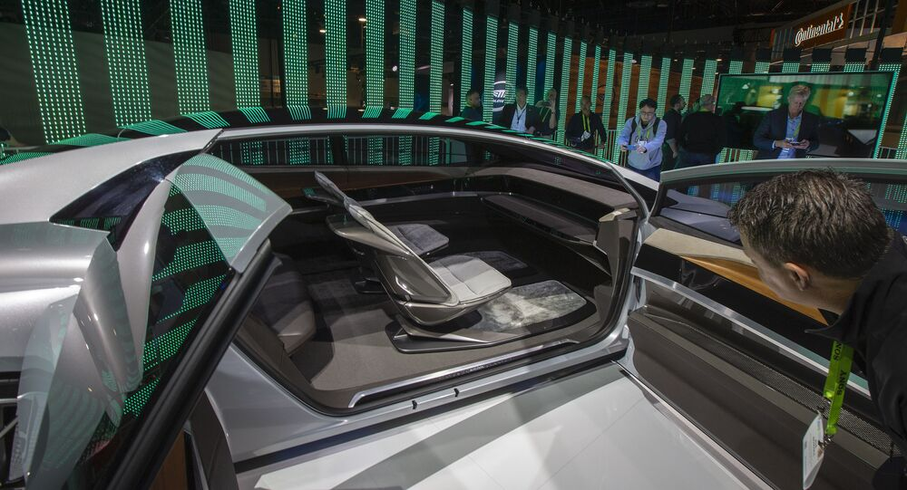L'intérieur du concept car autonome d'Audi, l'Aicon, au Las Vegas Convention Center.