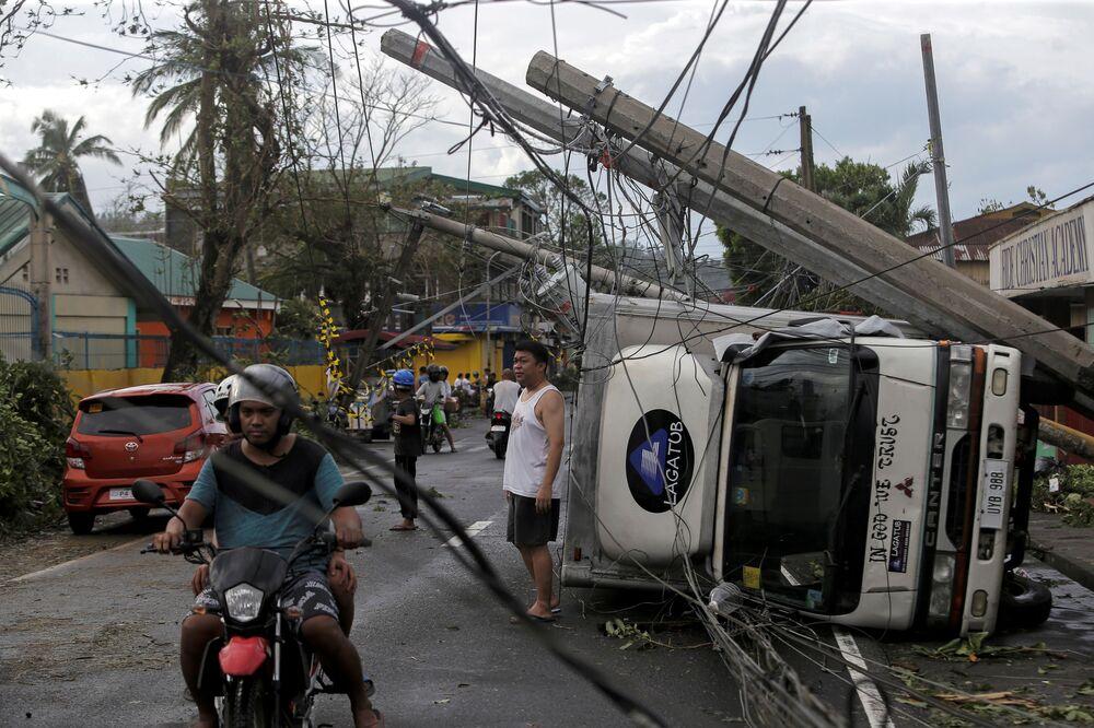 Les conséquences d'un typhoon aux Philippines