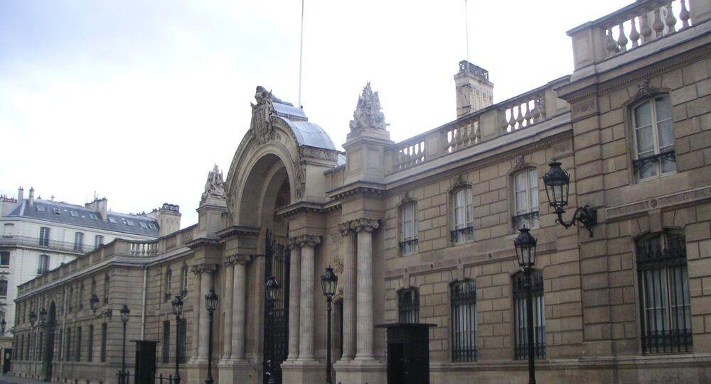 Entrée principale du Palais de l'Elysée à Paris - VIIIe arrondissement - Rue du Faubourg Saint-Honoré.