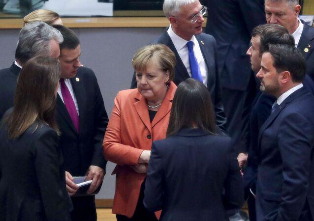 Angela Merkel au cours d'un sommet européen à Bruxelles