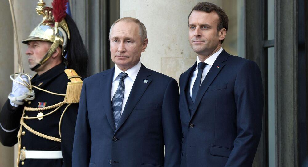 Vladimir Poutine et Emmanuel Macron, archives