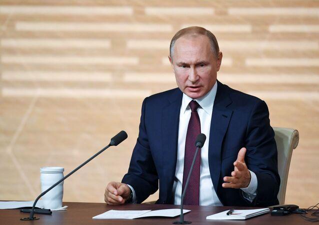 Vladimir Poutine pendant sa conférence de presse annuelle