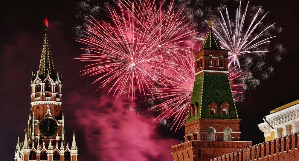 feu d'artifice à Moscou, le 31 décembre 2019