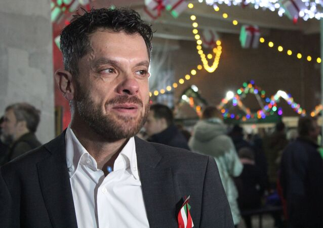Le consul général d'Italie, Francesco Forte, après le discours d'ouverture de la foire de Noël