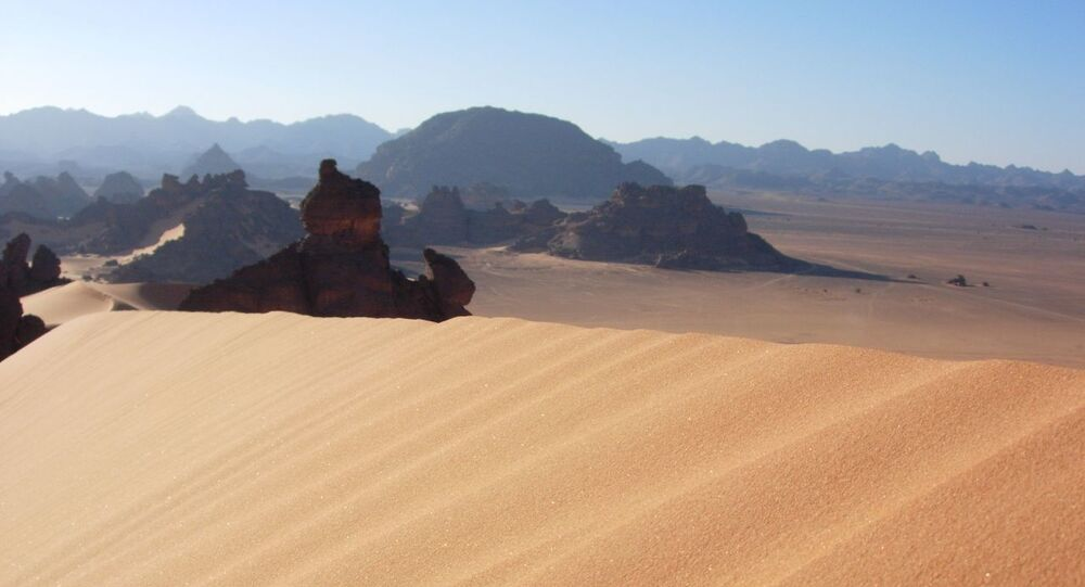 Libya is a predominantly desert country. Up to 99% of the land area is covered in desert. Pictured here is the mountainous southern part of the country.
