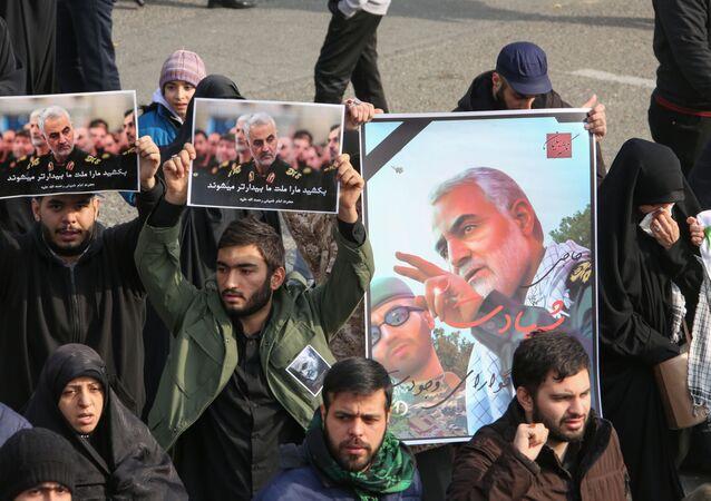 Les pancartes à l'effigie du général Soleimani