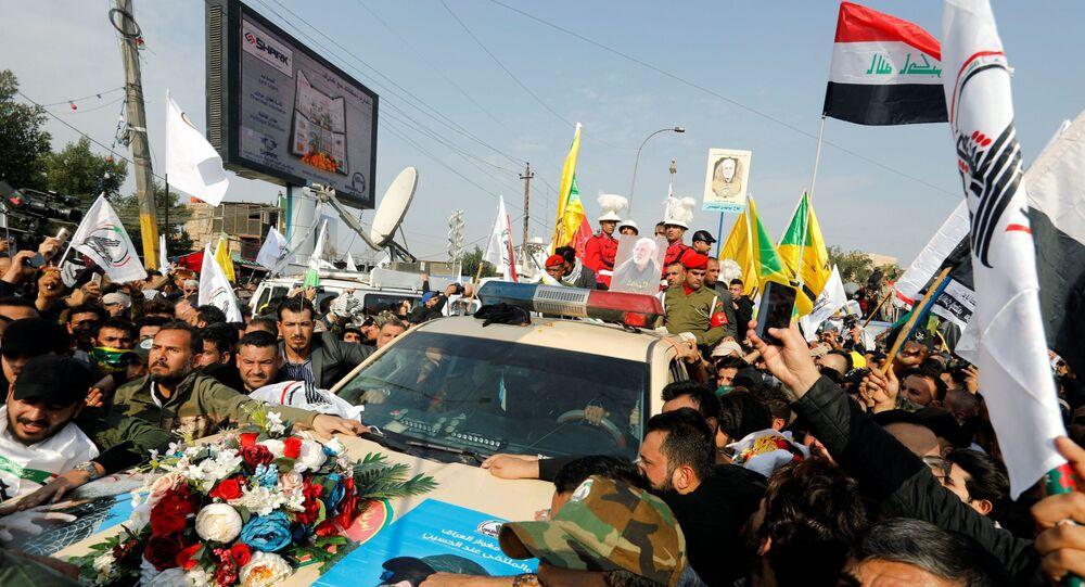 Cortège funèbre du général iranien Qassem Soleimani et du commandant des milices Abou Mehdi Al-Mouhandis (4 janvier 2020)