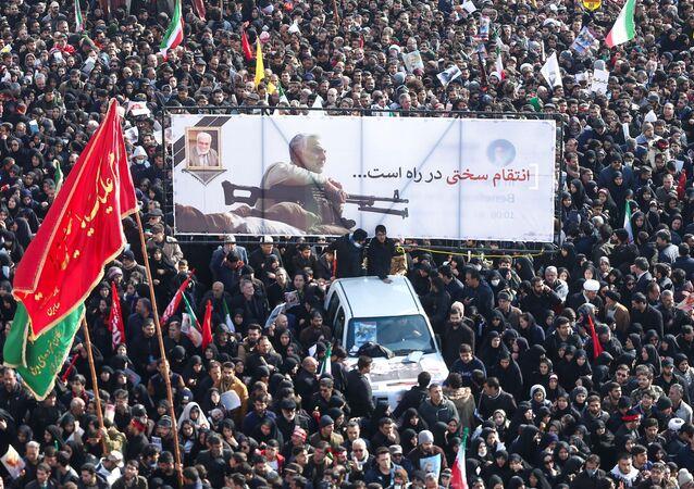 La cérémonie d'hommage au général Qassem Soleimani qui a lieu lundi 6 janvier à Téhéran