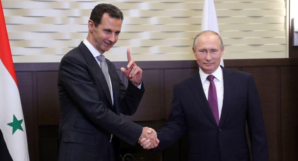 Vladimir Poutine rencontre Bachar el-Assad le 20 novembre 2017 (image d'archive)