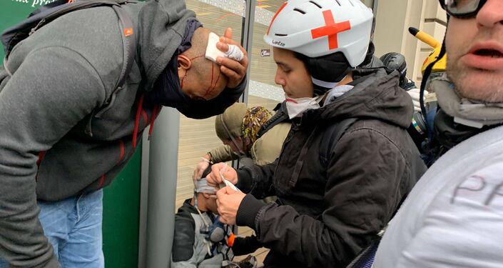 Des blessés lors de la manifestation contre la réforme des retraites, 9 janvier 2020