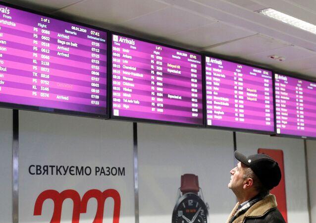La liste des vols, y compris celui ayant décollé de Téhéran marqué comme annulé à l'aéroport de Kiev Boryspil
