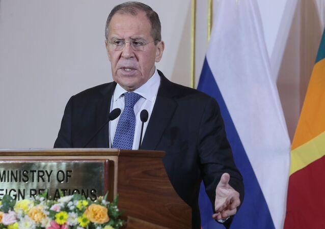 Sergueï Lavrov lors de sa visite au Sri Lanka, le 14 janvier 2020
