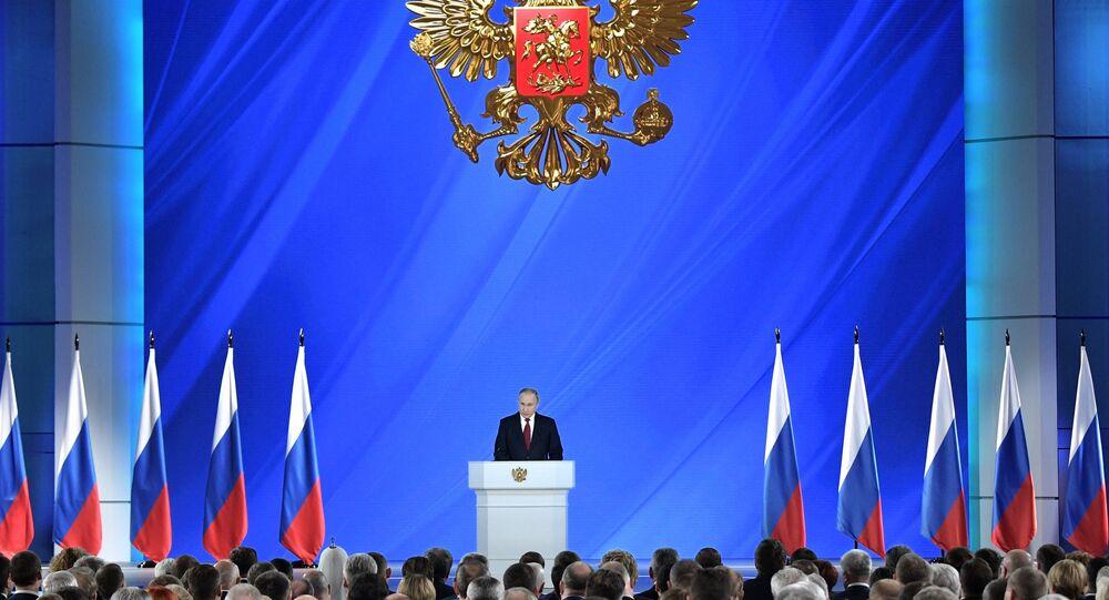 Vladimir Poutine adresse son discours annuel à l'Assemblée fédérale, le 15 janvier 2020