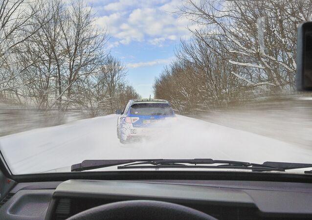Neige et verglas sur la route