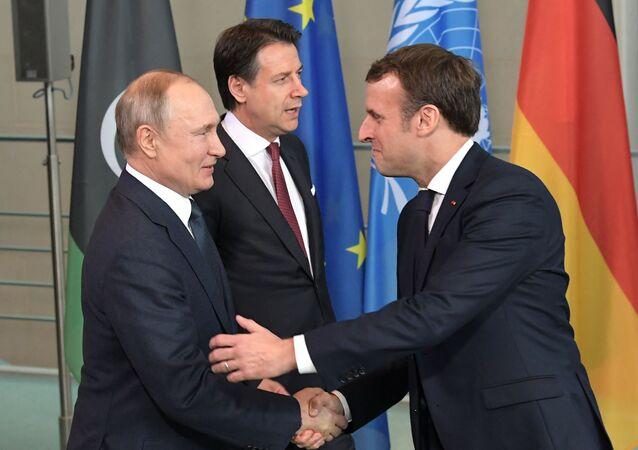 Vladimir Poutine et Emmanuel Macron à Berlin