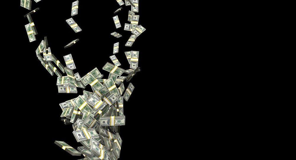 Pluie de dollars, image d'illustration