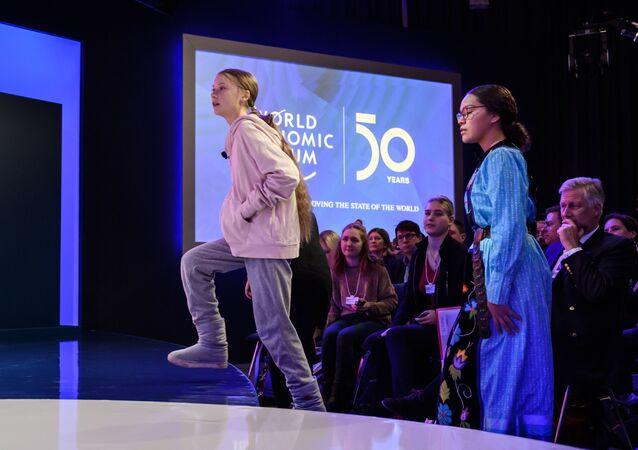 L'activiste Greta Thunberg au Centre des Congrès du Forum de Davos, le 21 janvier 2020.