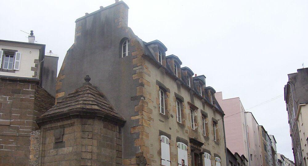 Maison de la Fontaine, quartier de Recouvrance, Brest. Il s'agit de l'une des plus vielles maisons de la ville.