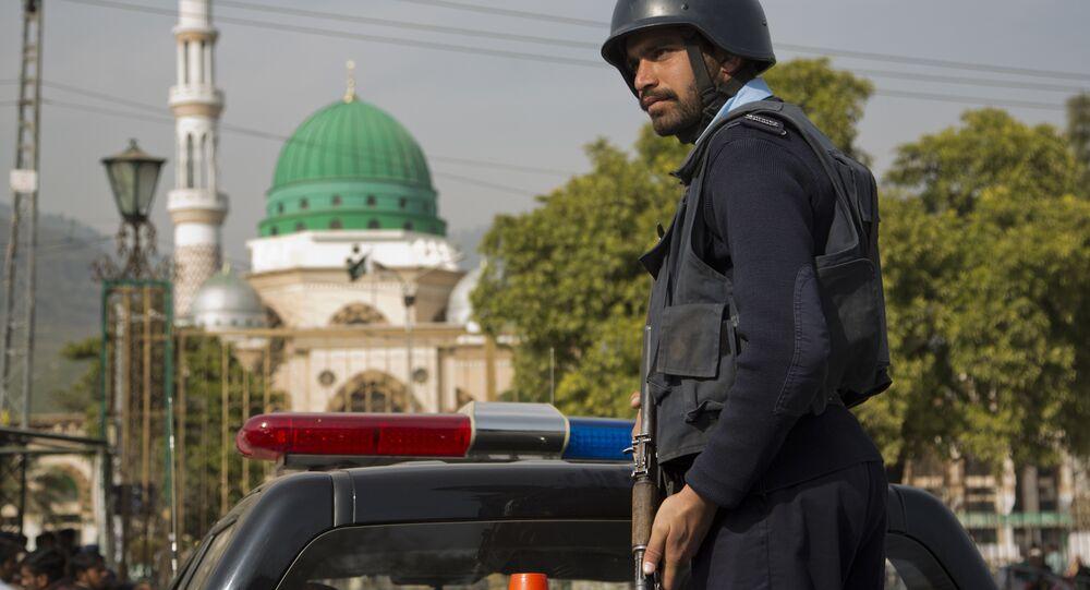 policier, Pakistan. Image d'archives