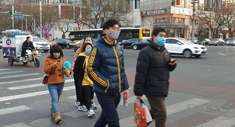 Une rue de Pékin après l'annonce d'une épidémie du coronavirus 2019-nCoV