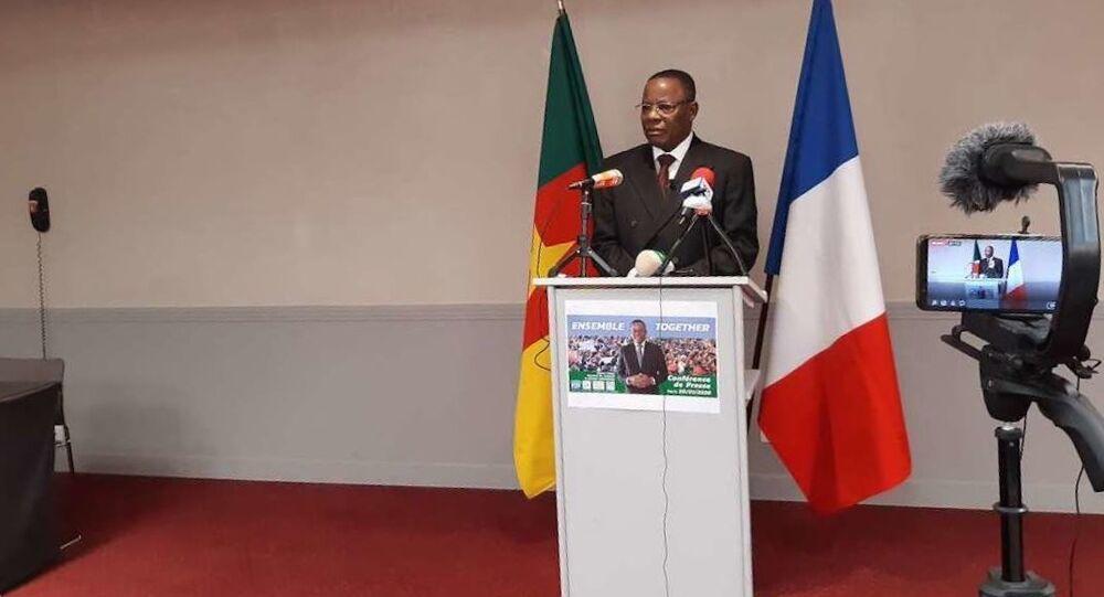 Maurice Kamto à Paris lors de la conférence de presse qu'il a donnée le 30 janvier 2020.