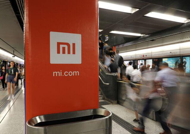 Werbebanner von Xiaomi in Hong Kong
