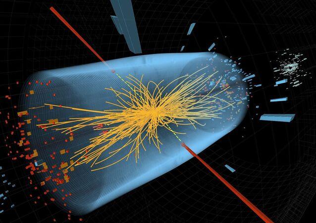 Collision de protons dans l'accélérateur de particules du Centre européen de recherche nucléaire (CERN)