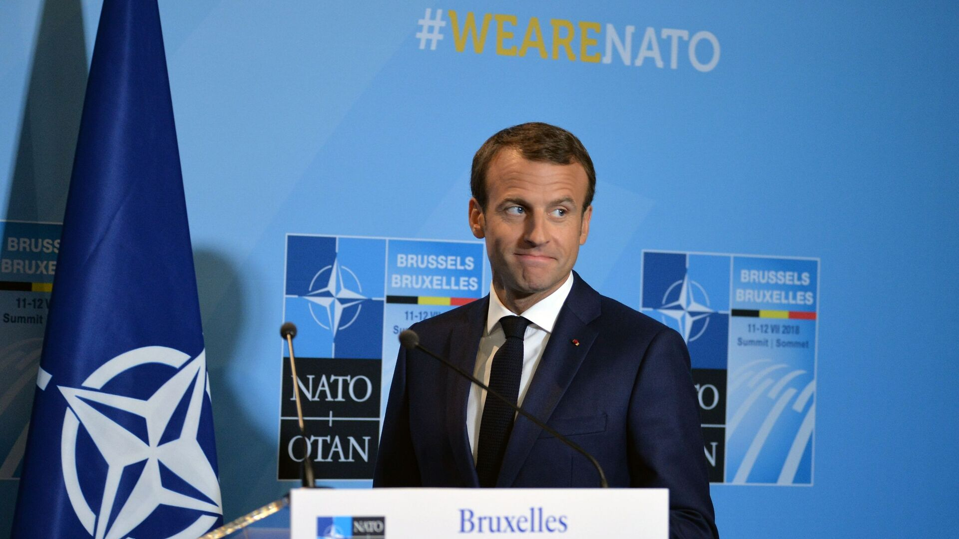 Emmanuel Macron lors d'un sommet de l'Otan  - Sputnik France, 1920, 16.03.2021