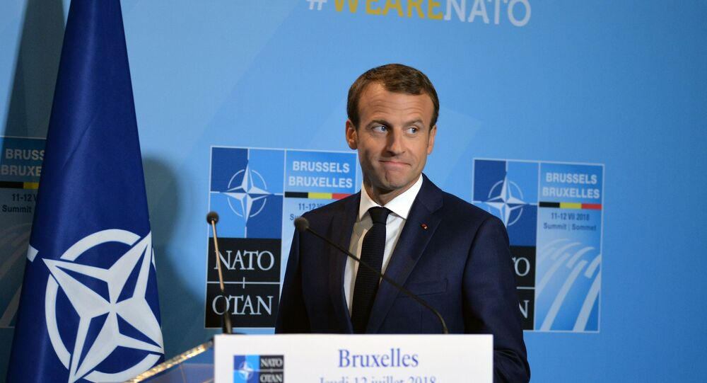 Le président français Emmanuel Macron lors du sommet des chefs d'État et de gouvernement de l'Organisation du traité de l'Atlantique Nord (OTAN) à Bruxelles.