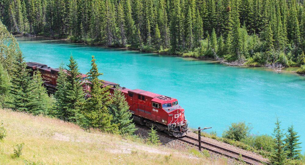 Train de marchandises au bord de la rivière Bow en Alberta (Canada)