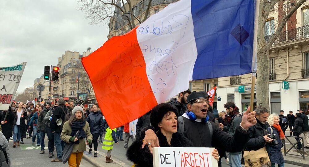 Manifestation contre la réforme des retraites à Paris, le 20 février 2020