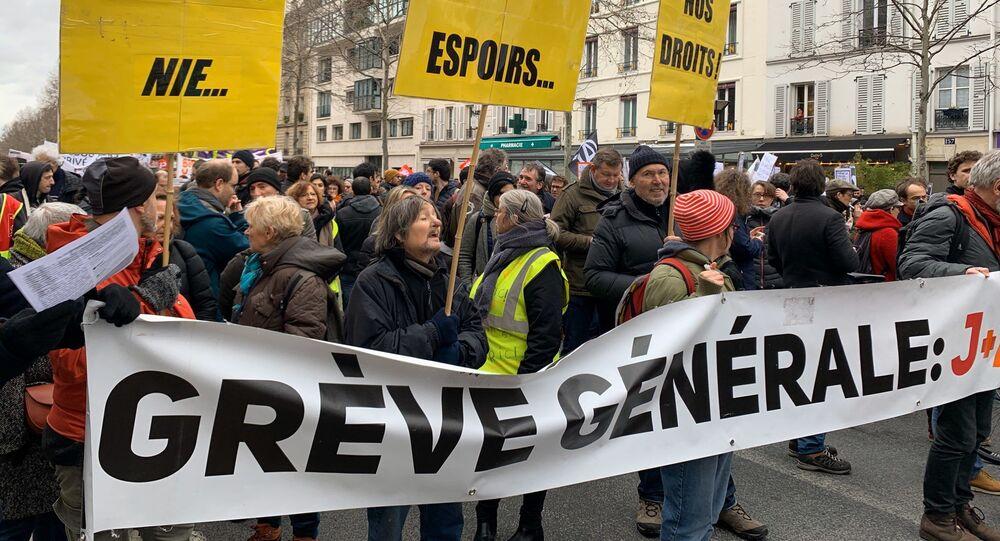Manifestation contre la réforme des retraites à Paris, 20 février 2020