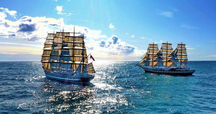 Les bateaux-êcoles russes Kruzenshtern et Pallada dans les eaux de l'Atlantique