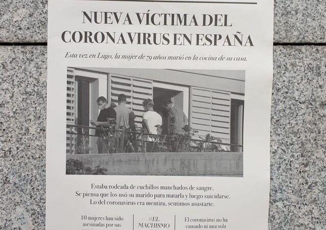 Affiche fictive créée par deux étudiants de Madrid sur le coronavirus et le machisme