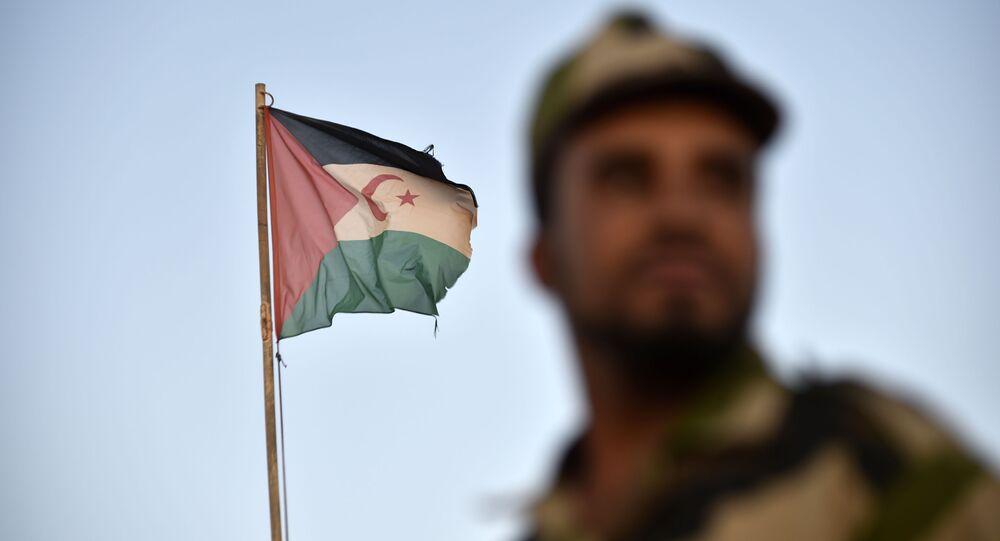 Un soldat du Front Polisario devant le drapeau sahraoui.