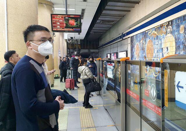 Une station de métro à Pékin après l'annonce de l'épidémie du coronavirus 2019-nCoV (archive photo)