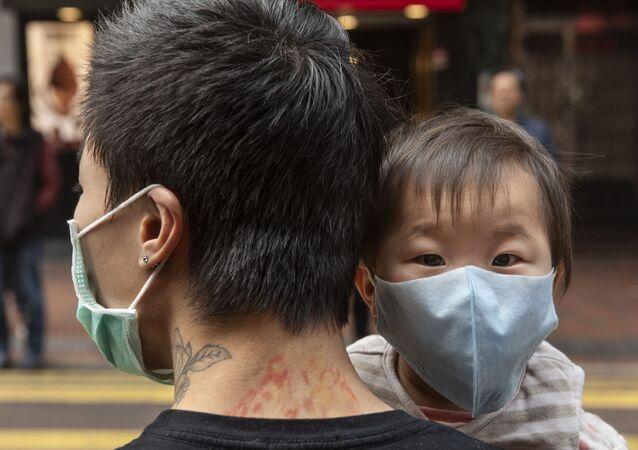 Une rue de Hongkong lors de l'épidémie du coronavirus Covid-19