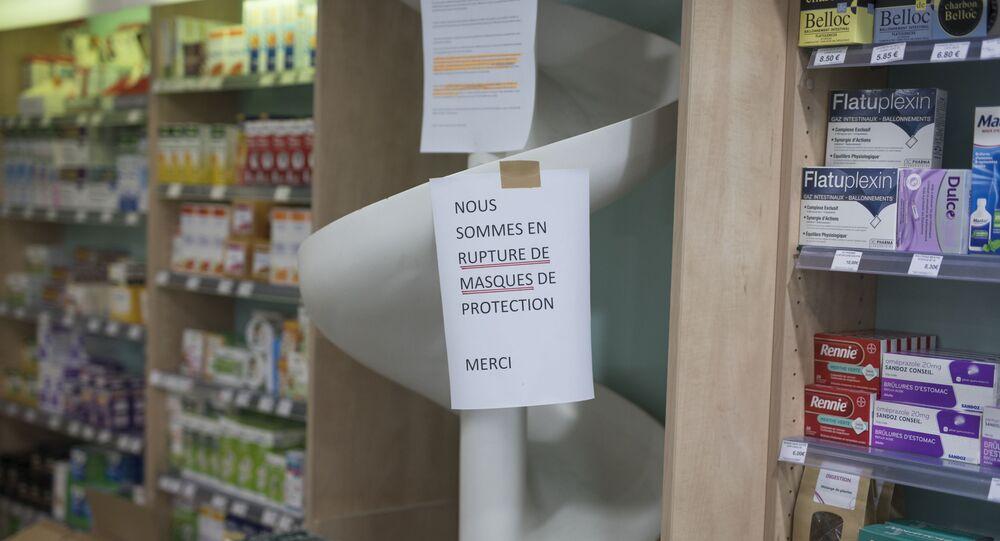 Une pharmacie à Marseille pendant l'épidémie de coronavirus